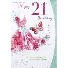 21st birthday card female traditional code 75