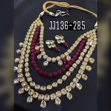 bridal beads necklace images Kundan necklace ad and silver necklace manufacturer from mumbai jpeg