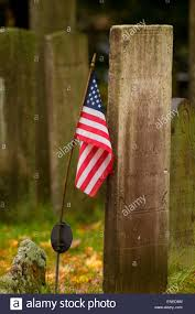 American Flag On Ground Gravestones With American Flag Memento Mori Burying Ground Stock