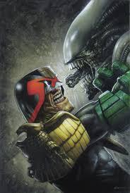 judge dredd vs alien by greg staples a v p pinterest aliens