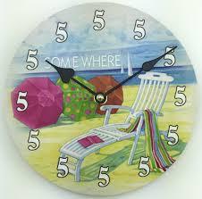 bright wall clock beach theme 140 beach themed wall clocks uk