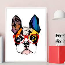 Dog Home Decor Cartoon Animal Dog Giraffe Glasses Art Canvas Poster Painting