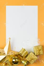 blank card with christmas ornaments decoration on golden color