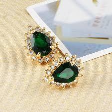 earrings brands green water drop studs brand jewelry gold