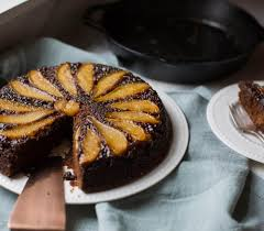 gingerbread pear upside down skillet cake lodge cast iron