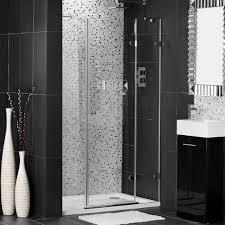 bathroom showers doors design with impressive black wall and floor