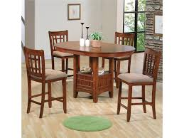 crown mark empire counter height dining table with pedestal base shown with side chairs