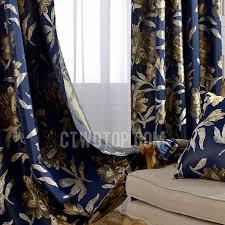 Camo Blackout Curtains Vintage Navy Blue Polyester Jacquard Floral Pattern Blackout