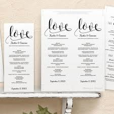 tea length wedding programs program template glitz calligraphy black tea length