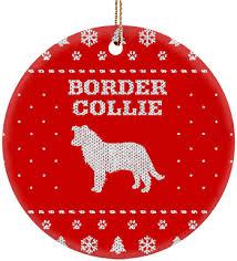 border collie ceramic circle ornament iheartdogs