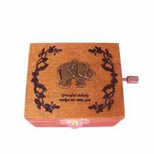 Eiffel Tower Garden Decor Wooden Handy Music Box Lovely Animal Eiffel Tower Pattern Music