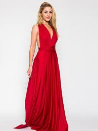 red v neck back twist strap detail ruched maxi dress 365 days
