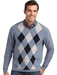 throw a patterned sweater such as this argyle v neck your