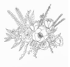 Flower Drawings Black And White - line drawing flower illustration floral bouquet line drawing