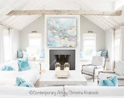 blue and white home decor original art abstract blue white painting large 48 coastal wall