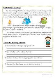 22 free esl camping worksheets