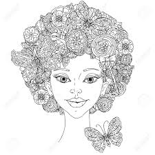 uncoloured woman and butterfly for coloring book in famous