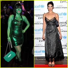 lily allen paints body green for unicef u0027s halloween ball 2013