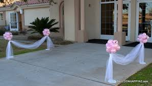tulle decorations wedding in pink and white