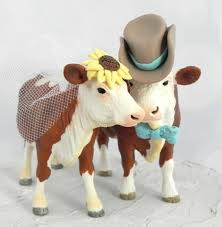 farm cake toppers hereford cow and bull wedding cake topper with sunflower bowtie