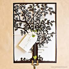 wedding invitations with st gertrude tree laser cut design