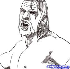 how to draw triple h step by step sports pop culture free