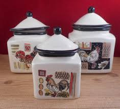 Rooster Kitchen Canisters Primitive Country Farm Rooster Hen Ceramic Kitchen Cookie Jar