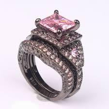 pink wedding rings 2016 black ring sets hot black gun color zircon pink purple