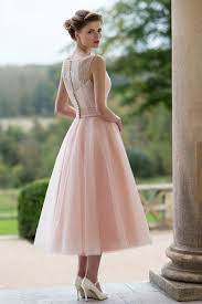 button back sleeveless blush lace and tulle tea length wedding