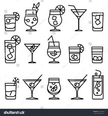 cocktail thin line icons alcohol cocktails stock vector 401410663