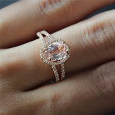 gold and morganite ring 6x8mm oval morganite ring 14k gold split band diamond ring