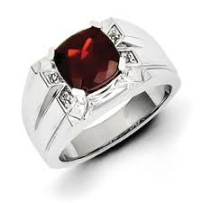ring of men men s cushion cut garnet diamond ring in sterling silver jewelry