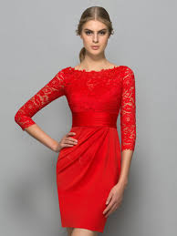 classy bateau neck 3 4 length sleeve red lace cocktail dress