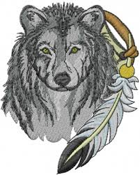 wolf with feather embroidery designs machine embroidery designs at