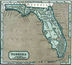 Map State Of Florida by Florida 1845