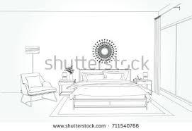 linear sketch interior room plan sketch stock vector 703069621