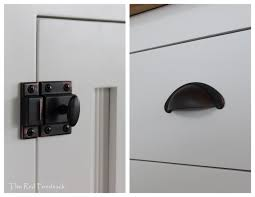 stainless steel cabinet door latches the red feedsack introducing my new kitchen cabin pinterest