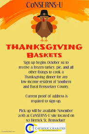 thanksgiving basket sign ups at catholic charities of the