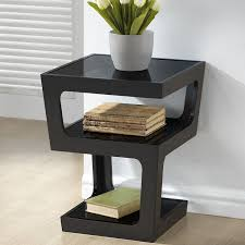 end table with shelves baxton studio clara modern end table with 3 tiered glass shelves