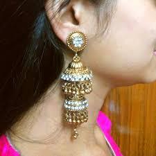 big jhumka gold earrings kashmiri american diamond golden big jhumka jhumki earrings