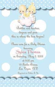 angels precious moments baby shower invitations blue polka dots