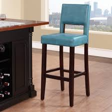 ocean blue leather bar stools light wood flooring island with wine