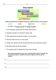 parts of speech worksheet nouns verbs adjectives and adverbs