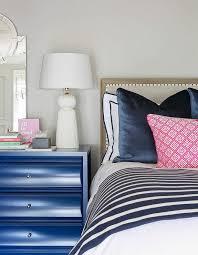Blue White Gray Bedroom Blue Nightstand With White Tassel Lamp Transitional Bedroom