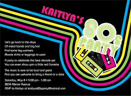 Welcome Back Party Ideas by Party Invitations Astounding 80s Party Invitations Design Ideas