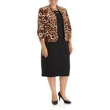 plus size 2 piece animal print jacket dress 276978849