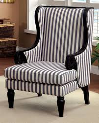 Black And White Striped Dining Chair Cm Ac6802 Accent Chair In White U0026 Dark Blue Stripes Fabric