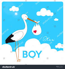 invitation baby boy shower stork carrying stock vector 191453069