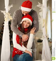 happy christmas couple in love at home stock image image 63634027