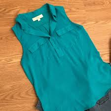 sleeveless collared blouse 49 loft tops loft teal polka dot sleeveless collared blouse